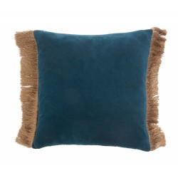 Cushion cover w/fringes, dusty blue/d.bl