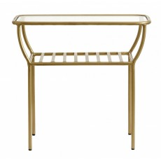 Side table, golden, w/glass plate, bars