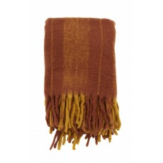 Blanket, burned orange, mohair look
