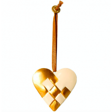 Metal ornament, Braided heart - Gold