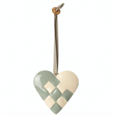 Metal ornament, Braided heart - Blue