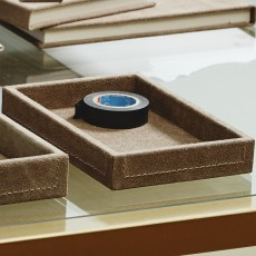 SAMOA tray, suede leather, grey, small